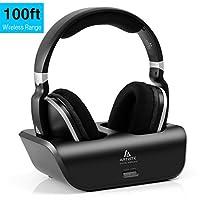 Digital Wireless TV Headphone, Artiste UHF/RF 2.4GHz Over-Ear Headset with Charging Dock Transmitter Base 100ft Wireless Range, Black