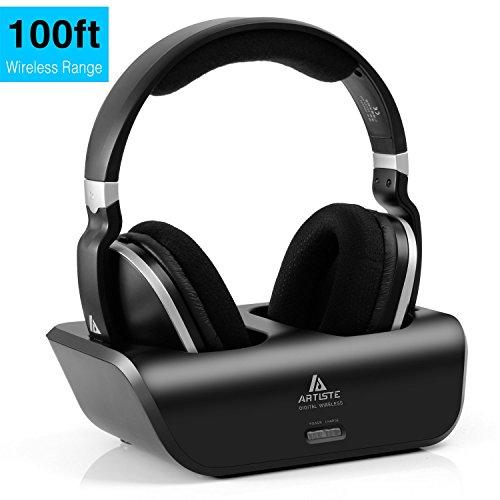 Digitales Wireless Kopfhörer 2.4GHz Übertragungsfrequenz Over Ear Funkkopfhörer mit Ladestation Lautstärkeregler geräuschunterdrückung Stereo Kopfhörer für TV, VCR,  HIFI, CD, DVD Spieler (Rca-audio-kabel 100ft)