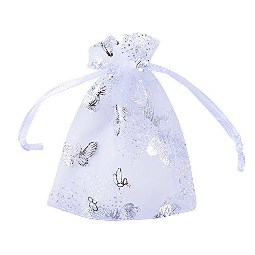 Buondac (9*12cm) 100pz sacchetti organza bianco bustine buste farfalle sacchettini per confetti gioielli matrimonio comunione battesimo festa
