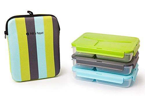 Pret a Paquet Auslaufsichere Thermo-Tasche Lunch Box, Blau – Grau - Grün Set aus 3 teilen