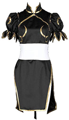 CHIUS Cosplay Costume Black Fighting Outfit Dress for Chun Li Version 2 (Street Fighter Kostüme Halloween)