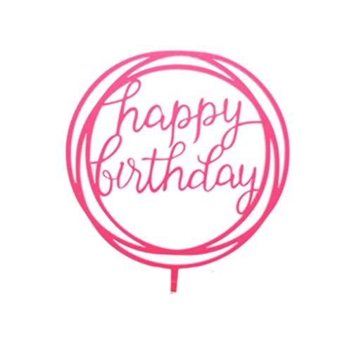 Mengonee Runde alles Gute zum Geburtstag Brief-Kuchen-Deckel Acryl DIY Kuchen-Kuchen-Smash-Kerze-Partei-Handmade-Stick