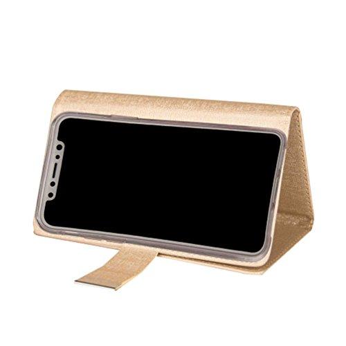 inShang Custodia per iPhone X 5.8 inch con il portafoglio 2 in 1 design, portafoglio staccabile, iPhoneX 5.8 inch case cover con funzione di supporto. Gold