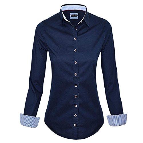 Baumwolle-seide-shirt Arbeiten (HEVENTON Bluse Damen Langarm in Navy von Hemdbluse - Größe 34 bis 50 - elegant und hochwertig Farbe Navy, Größe 36)
