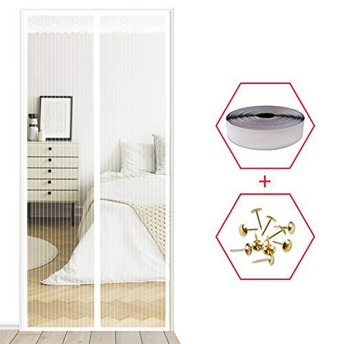 YXDDG Fiberglas magnetische siebgewebe für glastür doppel instant Bildschirm mit Full-Frame Magic Tape Vorhang moskitonetz Bug-Weiß 100x210cm(39x83inch) -