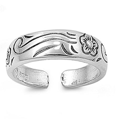 7K Zehenring aus 925 Sterling Silber als Fußschmuck für Damen, Herren und Mädchen, Größenverstellbar, Blume 6