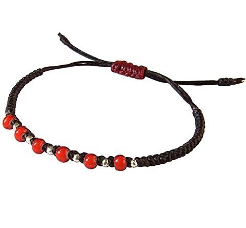LUN NA Asiatique 100% Fait Main Argent 925 Perles Bracelet White Heart Beads Rouge Marron Ficelle de Cire