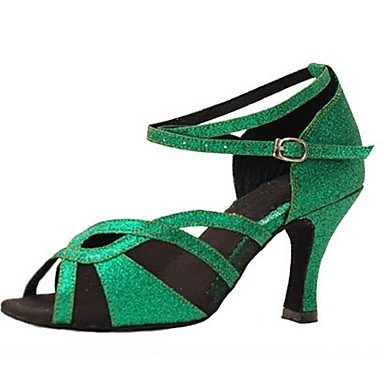 Chaussures De Danse-personnalisable-womens-latin-american Dance / Jazz / Salsa / Swing Chaussures-custom-heel-brillantini-green Green