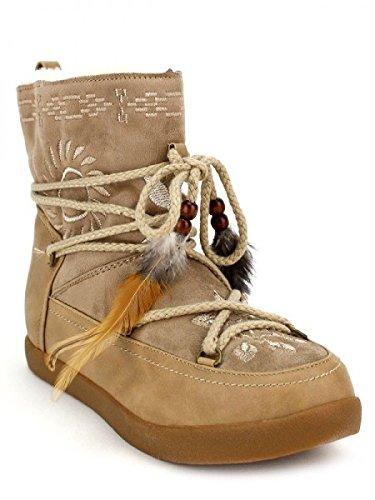 Cendriyon, Bottines Fourrées Beige TIWAKI Chaussures Femme Beige