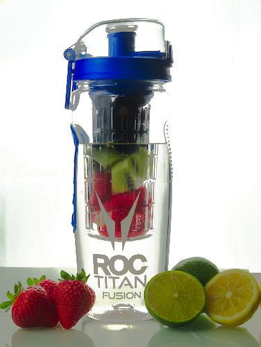 ROC-Titan-Premium-Fruit-Infuser-Water-Bottle-Large-1-Litre-Impact-resistance-Includes-Insulating-Sleeve-Recipe-eBook-BPA-Free