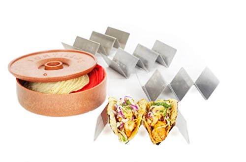 Soporte para taco con calentador de tortilla
