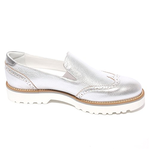 B0677 mocassino HOGAN ROUTE PANTOFOLA argento scarpa shoe donna loafer woman Argento