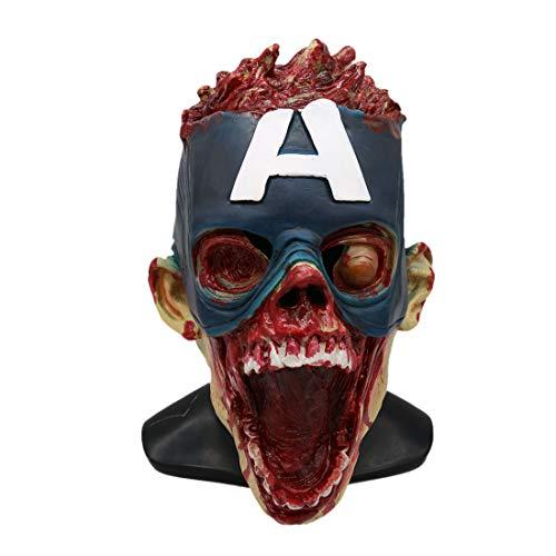 WYJSS Halloween Horror Helm Maske Requisiten Erwachsene Kopfbedeckungen,Blue-OneSize