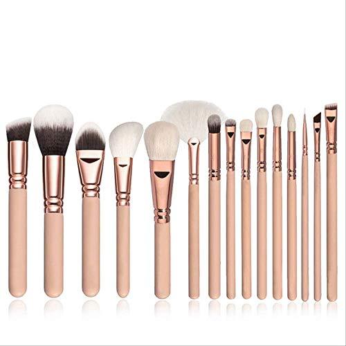 YMKMM Make-Up-Tools 15Pcs Make-Up Pinsel Set + Ledertasche Foundation Powder BlushTextmarkerLidschatten Blending Brush15Pcs