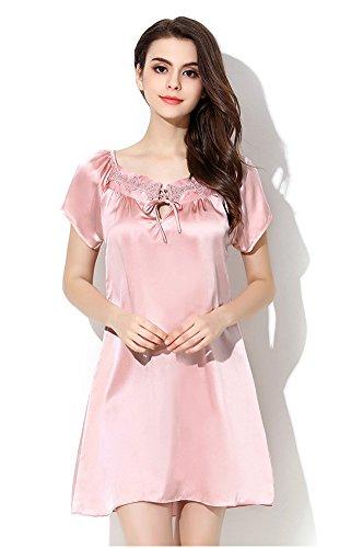 Tulpen Damen Seide Schlafrock Spitze Muster 100% Maulbeerseide Nachthemd Rosa