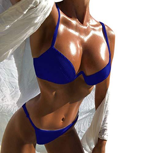 Honestyi Frauen Sling Bikini Set Push Up Brasilianische Badebekleidung Beachwear Badeanzug Frauen Sexy Einfarbig Badeanzug Sling Split Badeanzug(Blau,M)