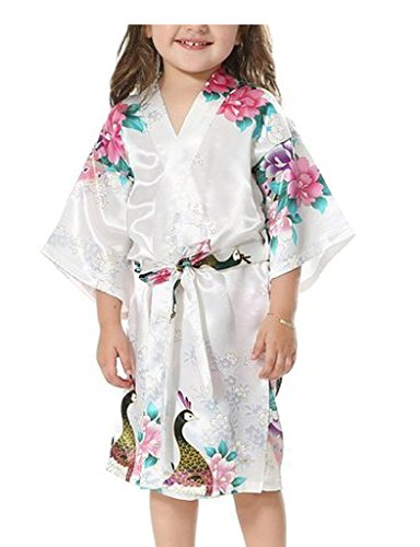 Yidarton Girls Robes Satin Peacock and Blossoms Kimono Nightwear Dressing Gown Slumber Party Loungewear(White 6)
