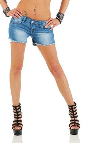11204 Fashion4Young Knackige Damen Hotpants Short kurze Hose Hot Pants  Shorts Panty jeans Stretch-Denim 7c136c2ef4