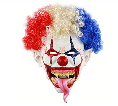 Joker Kostüm Evil - wanjuna Horror Halloween Kostüm Maske Creepy Evil Scary Joker Clown Maske Adult Ghost Festliche Party Maske Liefert Dekoration