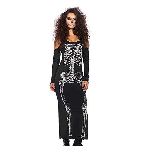 BGFDSV Horror Schädel Kleid Schwarz Skelett Kostüm Halloween Kostüme Für Frauen Plus Size Halloween Kleidung, Schwarz, XXL