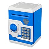 APUPPY Hucha electrónica, con caricatura, contraseña, cerdito, hucha de monedas, juguete, regalo de cumpleaños para niños, Azul y blanco
