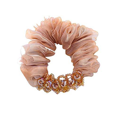 aimaoer Haargummi Kopfschmuck Einfache Haar Ring, Erwachsene Haargummi Schmuck, DameKrawatte, Champagner Gold