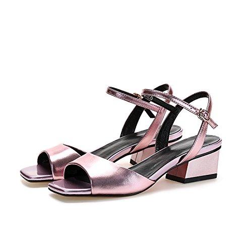 Lgk & Fa Sandales Femme Summer Sandals Femme Poisson Bouche En Cuir Nude Confortable Sandales Toe Été 39 Argent 37 Rose