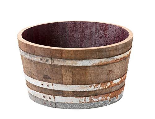 Holzfass, Weinfass halbiert aus Eichenholz rustikal -als Pflanzkübel oder Miniteich (ohne Zubehör)