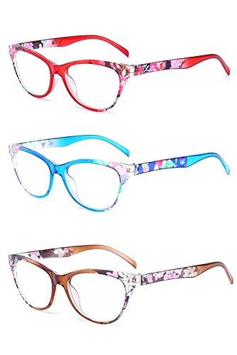 Inlefen 3er Pack Vintage Cat Eye Lesebrille Blumenmuster Rahmen Brillen für Frauen (Cat Eye Brillen Vintage)