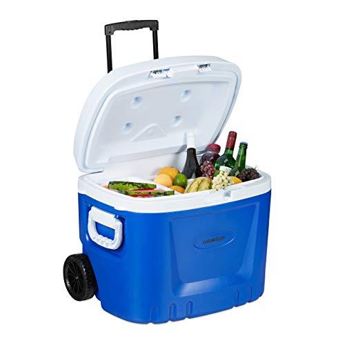 Relaxdays Kühlbox mit Rollen, 50 L, Kühl-Trolley, Teleskop-Griff, ohne Strom, Schale, Kühlakku, Wasserablauf, blau/weiß