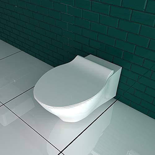 Spülrandloses Hänge WC Keramik Toilette ohne Spülrand inkl. Duroplast WC-Sitz mit Soft-Close / Quick Release Funktion passend zu GEBERIT - 2