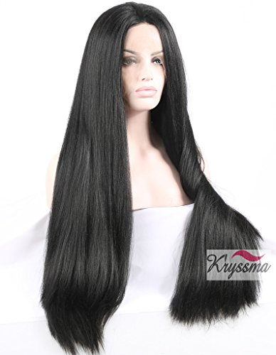 K'ryssma® Natural Looking Long Black Yaki Straight Glueless Lace Front Wig for African American Women Synthetic Hair Light Yaki Full Wigs Heat Friendly 24 inch