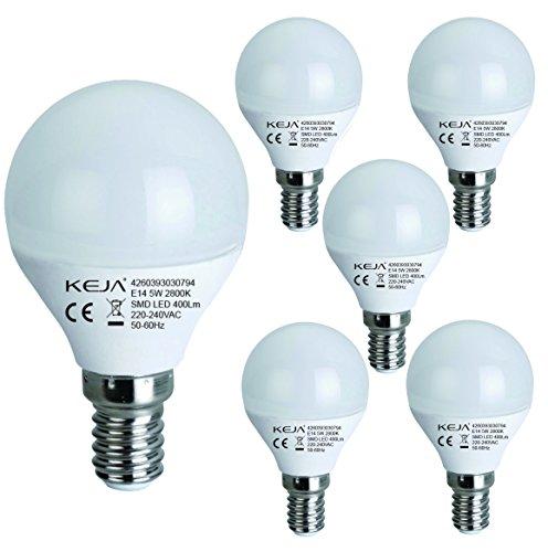 LED FACTORY 5W E14 LED Lampen 400lm, Warmweiß, Ersatz für 50W Glühlampen, 2800K, 270° Abstrahlwinkel, LED Leuchtmittel, LED Birne, 5er Pack -