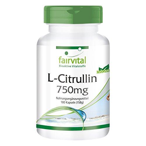L-citrulline 750mg - 1 mois - végan - dosage élevé - 180 capsules - acide aminé