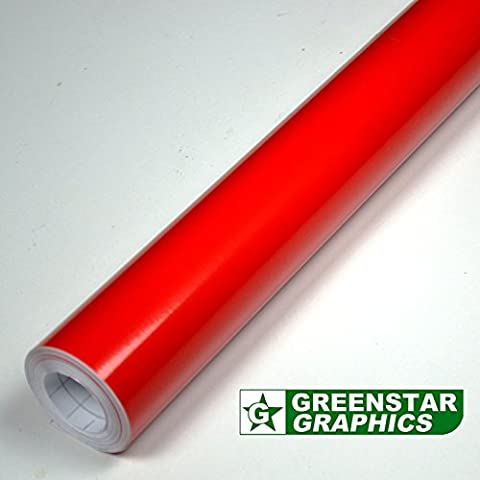 1 METER SHEET OF RED GLOSS FABLON TYPE STICKY BACK PLASTIC SELF ADHESIVE SIGN VINYL (1m X 610mm)