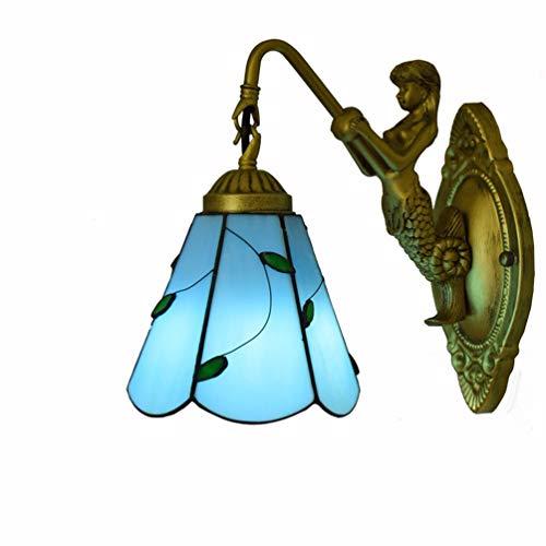 Tiffany Stil Europäischen Einzelkopf Kristall Wandleuchte Glasmalerei Handgefertigte Lampenschirm Blau Blätter Wandleuchten 6 Zoll für Schlafzimmer Nachtstudie Wohnzimmer Aisle Cafe ( watt : 220v ) -