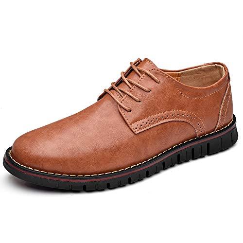 Moodeng Brogue Oxford con Cordones,Zapatos de Cuero Hombre Negocios Vestir Derby Informal Boda Calzado...