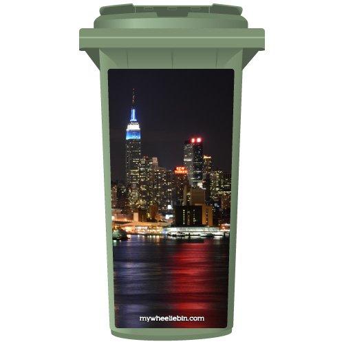 Panneau New York City At Night Sticker pour poubelle à roulettes, Small
