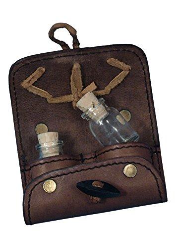 (LARP Tranktasche aus Leder mit 2 Flaschen aus Leder Schwarz oder Braun Mittelalter Ritter Wikinger (Braun))