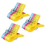 Vicloon Badetuch Clips 12 Stück große Wäscheklammern Handtuchklemmen Strandtuchklammern Clips Winddicht Klammern auf Strand und Sonnenliegen für Wäsche Strandtuch, Badetuch, Teppich (12 PCS)