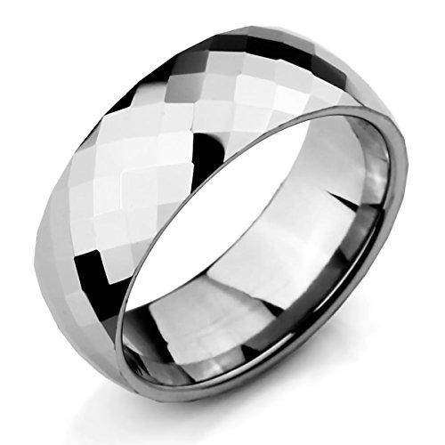 MunkiMix Breite 8mm Wolframcarbid Wolfram Band Ring Silber Ton Bequeme Passform Hochzeit Größe 60 (19.1) Herren (Herren Silber-wolfram-ringe)