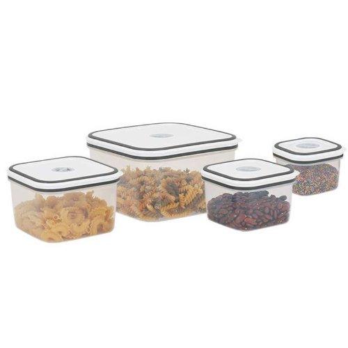 Frischhaltedosen Set 8-tlg mit Deckel mikrowellenfest und spülmaschinenfest (Vorratsdosen, hochwertiger Kunststoff, 8 Teile, 4 Dosen mit Deckel, Gefrierschrank Dosen)