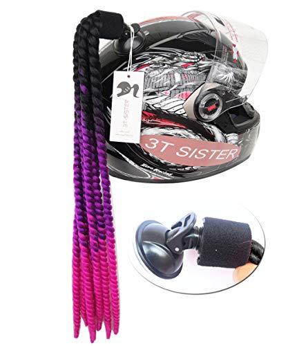 3T-SISTER - Cola de Caballo con Ventosa para Casco de Motocicleta, Trenzas rizadas, Pelo sintšŠtico de Fibra, Color Degradado, 55,88 cm