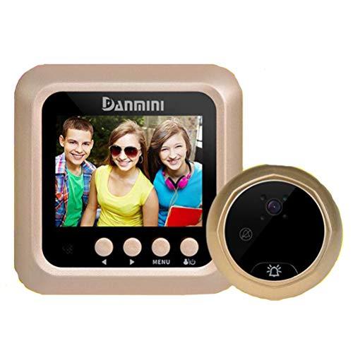 Danmini Mirilla Digital Timbre de Puerta, detección de Movimiento PIR, Toma de fotografías automática, visión Nocturna por Infrarrojos con Tarjeta de 8GB TF,Gold