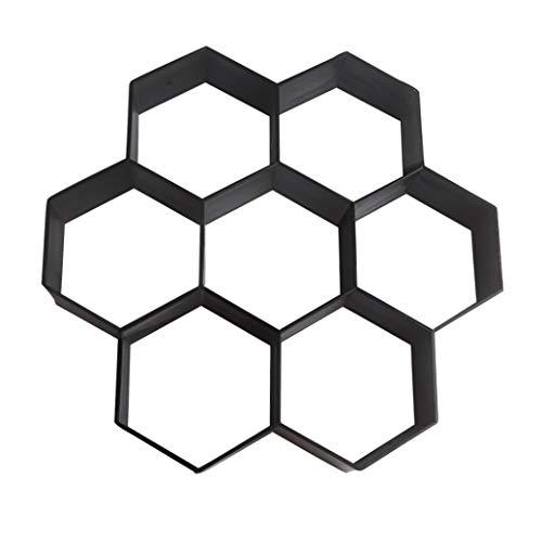 Teydhao 1 Stücke DIY Patio Weg Sprungbrett Betonfertiger Form Wiederverwendbare Weg-Form Garten Pflasterstein Formen Hexagonal Ausgefallenes Modell (30 * 30cm)