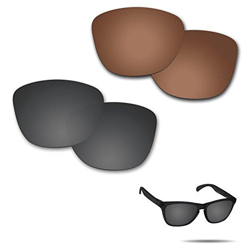 Fiskr Anti-Saltwater Polarisierte Ersatz Gläser für Oakley Frogskins-Sonnenbrille 2Paar Verpackt, Stealth Black & Bronze Brown