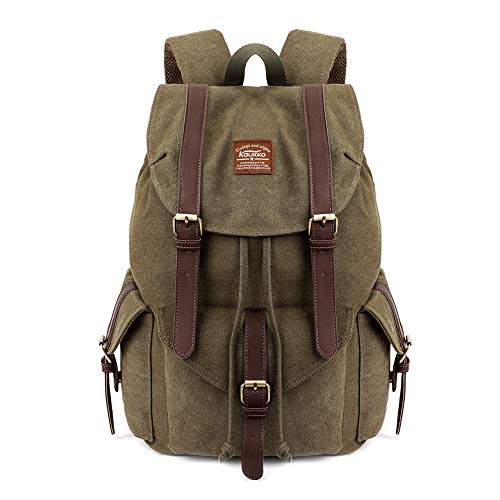 KAUKKO Herren Damen Schulrucksack Wanderrucksack Reisetasche Laptoprucksack Outdoor Sports Freizeit Daypacks, Army Green, Large