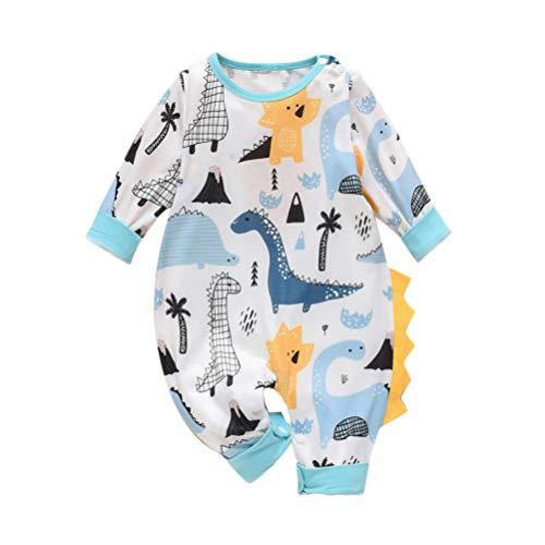 NUOBESTY Babyspielanzug Overall Dschungel Dinosaurier Print Onesies Body Tuch Warm Klettern Outfit für Jungen Mädchen (90 Cm)