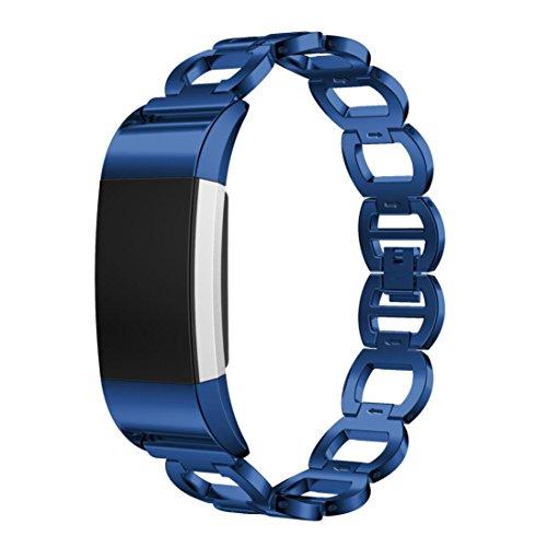 Preisvergleich Produktbild Sansee Edelstahl Armband Smart Watch Band Strap für Fitbit Charge 2 (Blau)