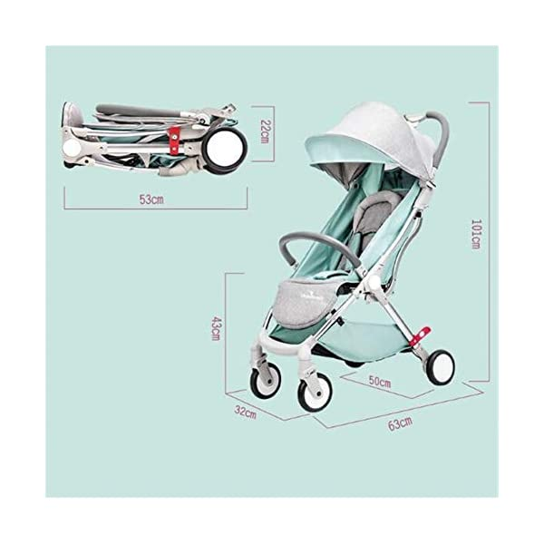 WFCVS Pushchairs Pram Sit Lie Light Folding 0-3 Year Old One Key Car Portable Shockproof Trolley,Green WFCVS Pusher type: baby carriage Applicable age: 1 months ~4 years Frame material: aluminum alloy / tube wall thickness: 1.5mm Basket fabric: Oxford cloth / bearing: 15kg Baby wheel type: EVA foam / wheel material: PU/ bearing number: 10 axis. 4